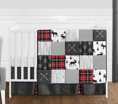 Gray Black Red Woodland Arrow Rustic Patch Baby Boy Bumperless Crib Bedding -
