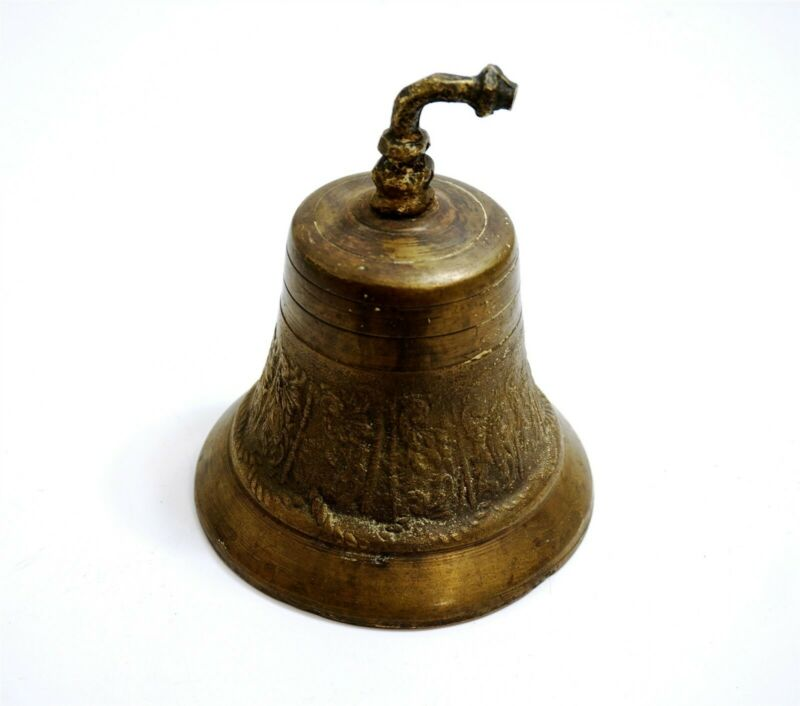 Antique Nautical Ships (?) Brass Bell with hooked arm and decorated