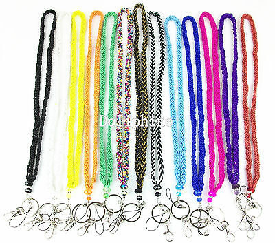 Multi color Crystal Seed Beaded Necklace LANYARD with Keychain for ID Badge  (Lanyard Necklace)