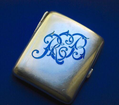 Art Deco Sterling Silver Blue Enamel Cigarette Case c.1930