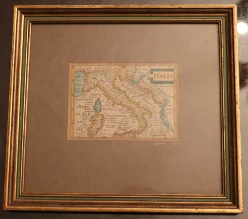"""Italy 1676 antique map by John Speed - size including frame 10.25"""" x 9.25"""""""