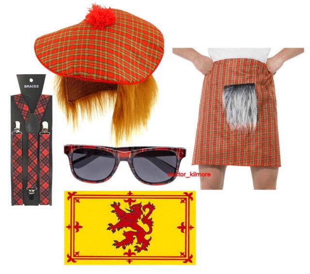 Scottish Tartan Fancy Dress Kilt Hat Ginger Hair Lion Flag Sunglasses Braces