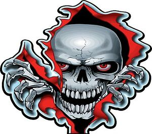 RED EYED SKULL, GUITAR , WALL,CAR ,VAN, LAPTOP, BIKE,STICKER