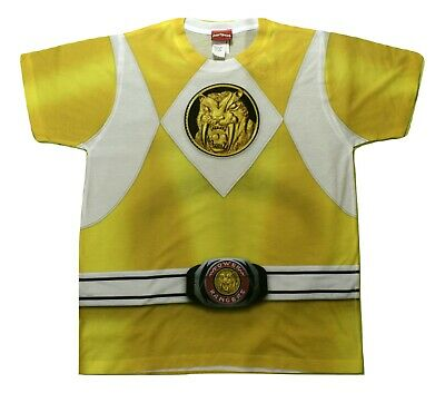 Yellow Mighty Morphin Power Ranger Costume (Mighty Morphin Power Rangers Youth Boys Yellow Ranger Costume Shirt New M,)