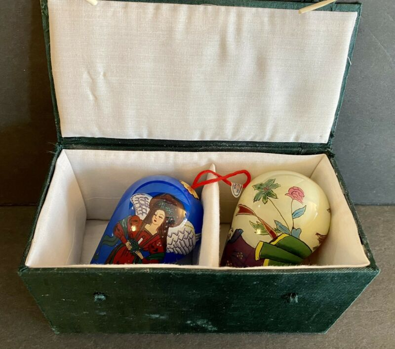Le Bien Hand Painted Teardrop Glass Angel Ornaments Set of 2 In Box