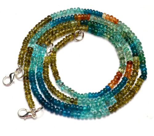 """Natural Gem Multicolor Apatite 4MM Size Smooth Rondelle Beads 16.5"""" Necklace"""