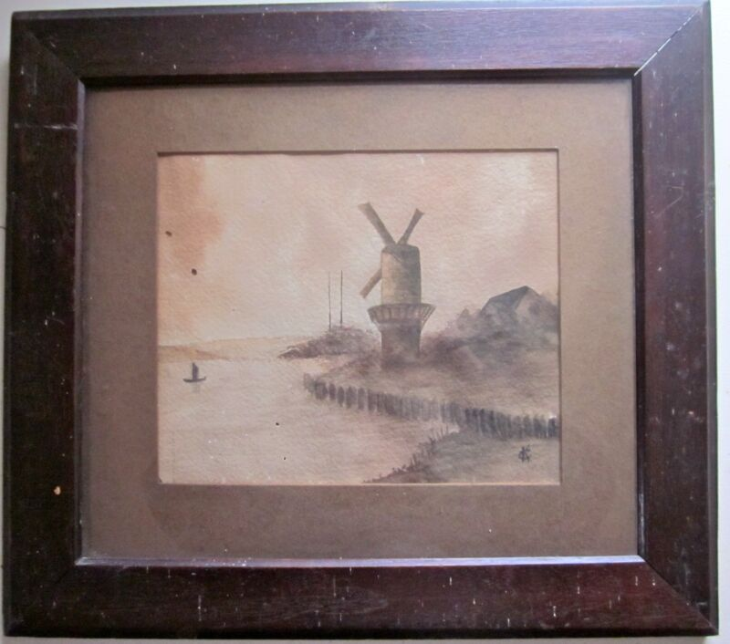 WINDMILL Original WATERCOLOR PAINTING Signed C.K. Framed Under Glass 18.5x16.5