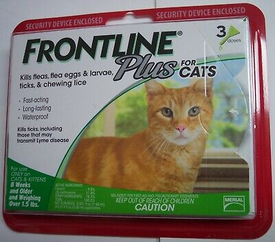 Frontline Plus Flea & Tick Control for Cats, Kittens Over 1.5 lbs (3 Dose Box)
