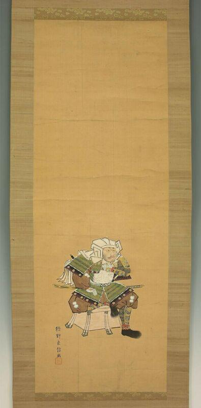 """JAPANESE HANGING SCROLL : KANO RYOSHIN """"Samurai"""" HandPaint"""
