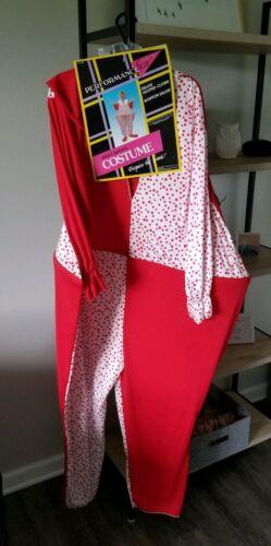 VTG NOS HALLOWEEN COSTUME 1980s NORBEN CANADA CLOWN hooped polka dots