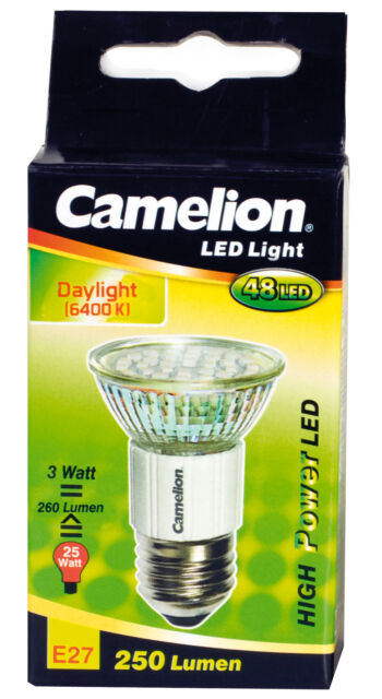 CAMELION LED Mini Spot E27 48 SMD-Chip LEDs 3W 260 Lumen 6400K Tageslicht