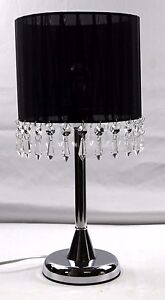 Touch Crystal Chandelier Lamp Table Cafe Bedside Lamp Brass Base Black 42cmH