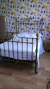 Original antique brass cast iron victorian 4 poster for Wrought iron four poster bed frames