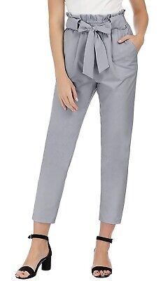 GRACE KARIN Women's Cropped Paper Bag Waist Pants with Pockets Gray Size Large Grace Crop Pant