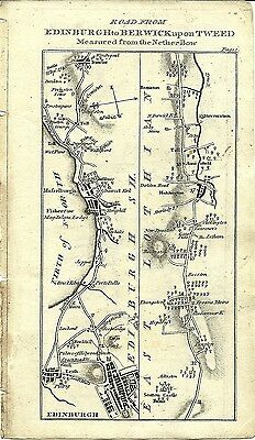 Antique map, Edinburgh to Berwick upon Tweed (1)