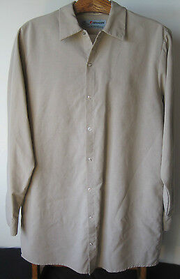 Mens Work Shirts Aramark  Buyer Gets 3 Shirts  Tan L S Sz Lrg  Xlong Great Shape