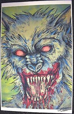 Halloween Horror Nights Werewolf (Werewolf 11x17 Art Print Signed Horror Monsters Halloween Howling by)