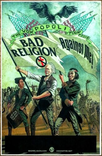 BAD RELIGION | AGAINST ME! The Vox Populi Tour 2016 Ltd Ed New RARE Poster! PUNK