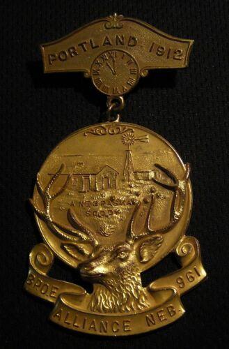 "1912 BPOE ELKS #961 ALLIANCE NE ""A NEBRASKA SODDY"" MEDAL BADGE - PORTLAND OR"