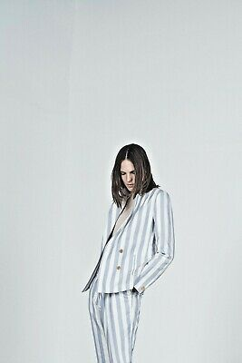 King & Tuckfield Ladies Stripe Double Breasted Blazer Blue/Ecru RRP£279 - Medium