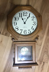 Wood Pendulum Wall Clock Battery Schoolhouse Regulator Clock Westminster Chimes