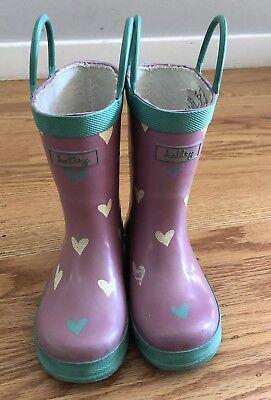 Hatley Gorgeous Hearts Rubber Rain Boots, Purple, Sz.7