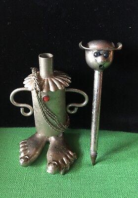Don Quixote? Tin Man Pen Big Feet Metal, Aluminum  Glass Eyes , Heart Very Cool](Big Feet Man)
