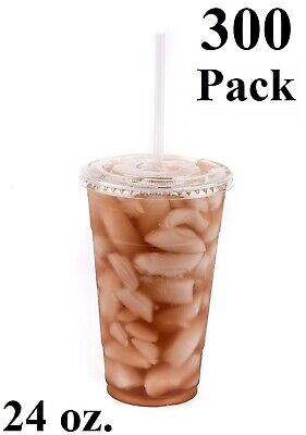 300 Pack 24 Oz. Disposable Clear Pet Plastic Cups W Flat Lids And Clear Straws
