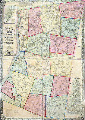 1851 Map of Columbia County NY from actual surveys Chatham