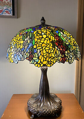 Vintage Tiffany Style Laburnum Stained Glass Table Lamp