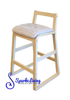 Plywood Bar stool Kitchen Dining Chairs Fabric-Stamp Fabric