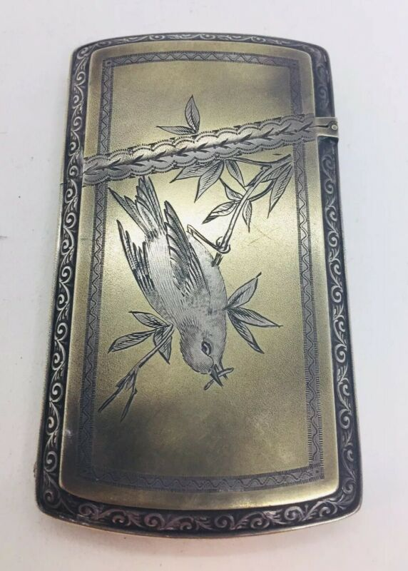 Gorham Antique Sterling Silver Aesthetic Floral Bird Card Case