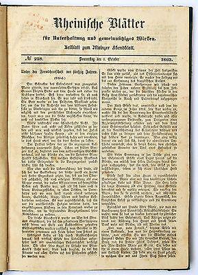 Rheinische Blätter Beiblatt zum Mainzer Abendblatt Okt. - Dez. 1863 gebunden
