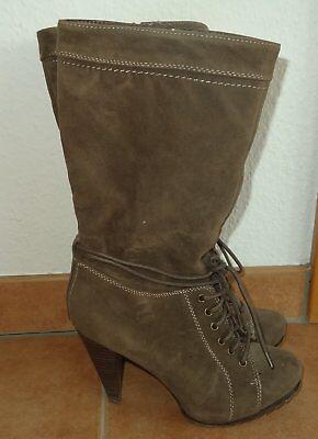 Damen Stiefel Graceland beige Schuhe Schnürstiefel Kunst-Leder Vintage 80er 90er