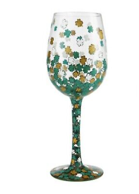 Wine Glass Boxes (Lolita Shamrock Wine Glass Hand Painted St Patrick's Day New in Gift Box)