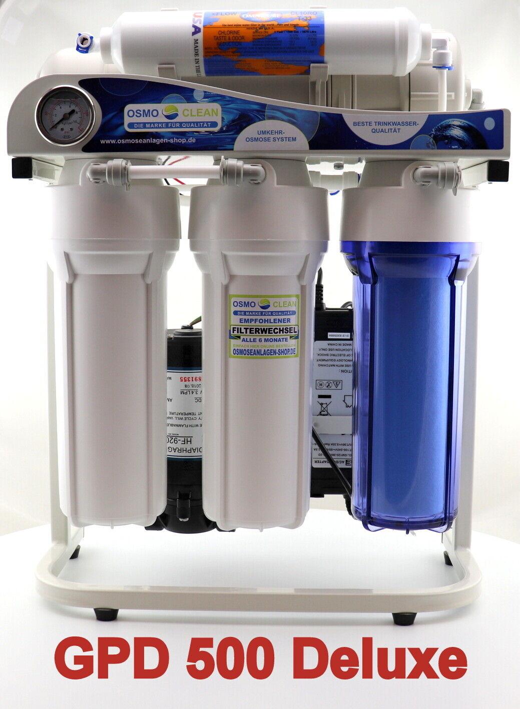 Osmoseanlage DELUXE Titan Exklusive 500 GPD ca.1.900 LTag, Wasserfilter, Sanic
