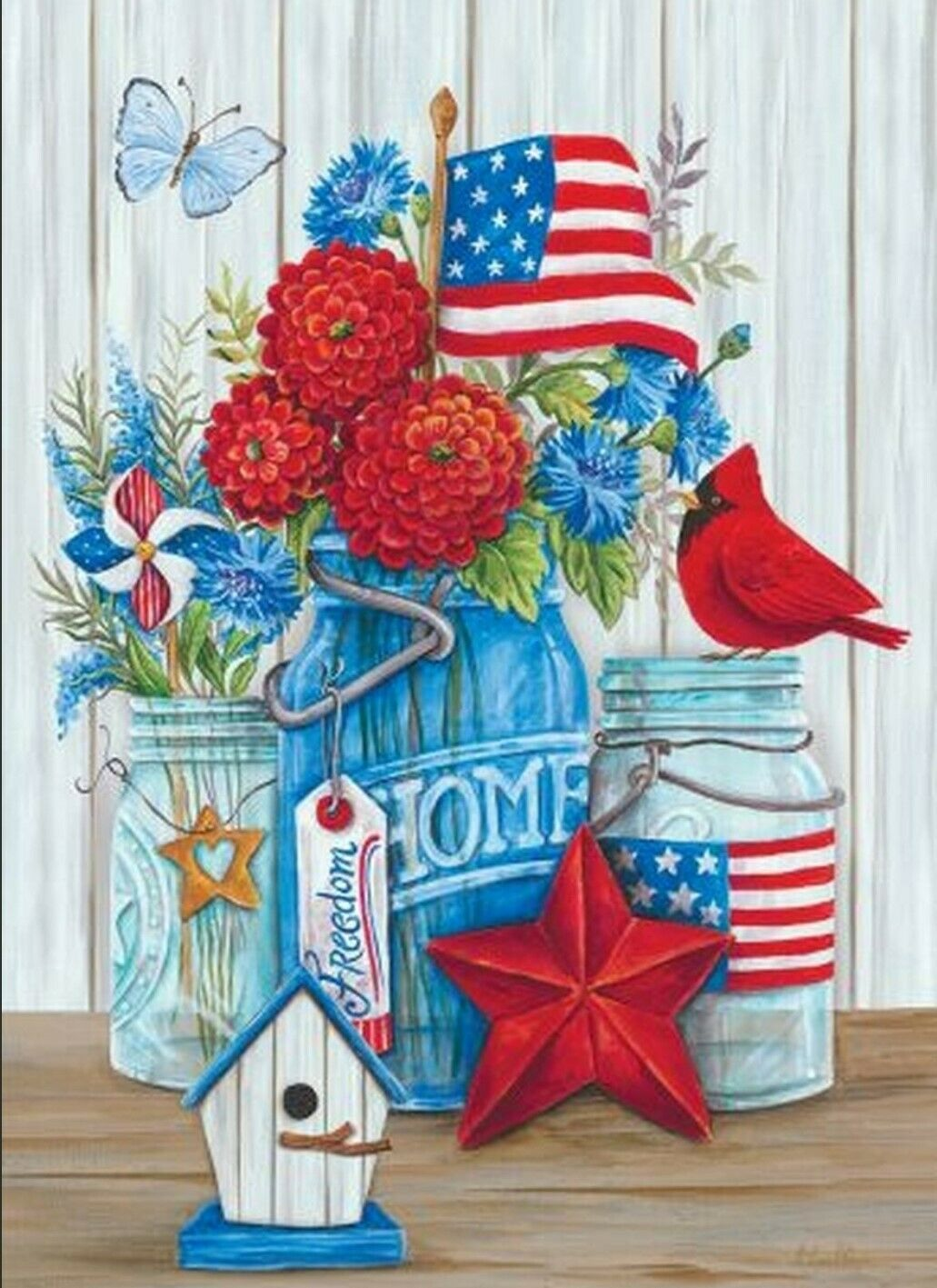 PATRIOTIC FLOWERS and CARDINAL YARD GARDEN FLAG 2-SIDED 12""
