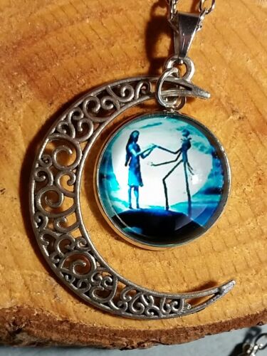 Nightmare Before Christmas Jack and Sally Blue Crescent Moon Pendant