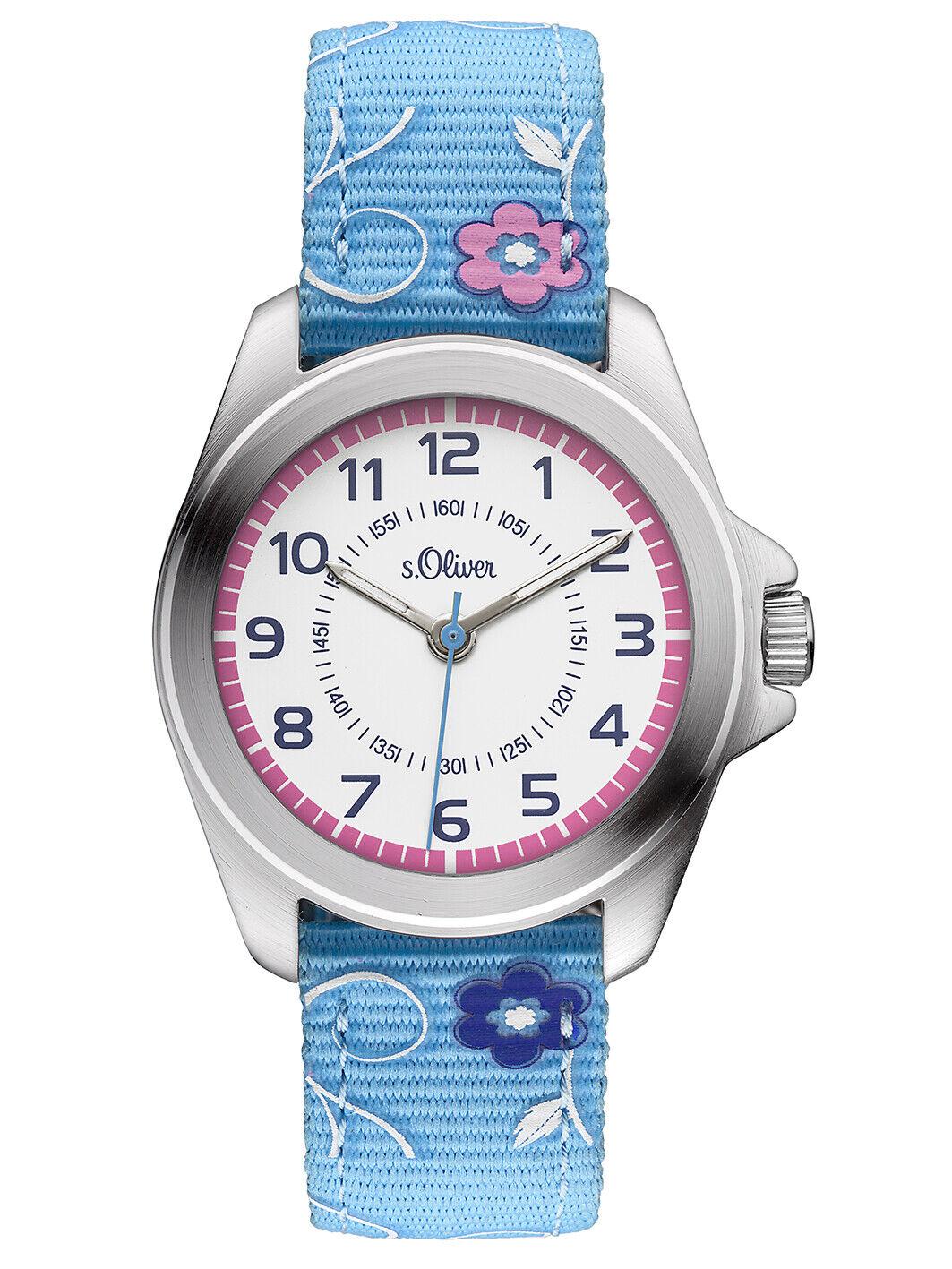 s.Oliver Mädchenuhr Kinder Textil Canvas Armbanduhr Blumen Pink Blau SO-3176-LQ