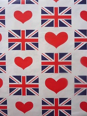Union Jack Tablecloth (Vinyl PVC tablecloth Novelty British Flag Union Jack Hearts - Round - 175cm)