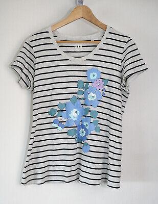 Orla Kiely for Uniqlo Grey Floral Print Graphic T-Shirt Medium