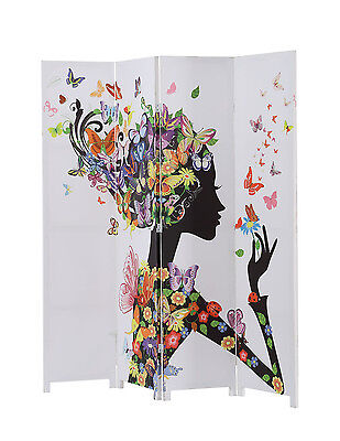 Design Screen Divider (4 Panel Canvas Room Screen Divider Double Sided Floral Butterfly)
