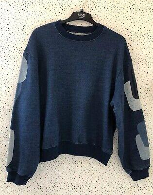 Kapital Japan Blue Sweatshirt Jumper With Linen Patch Zip Pocket Sleeve Size 2