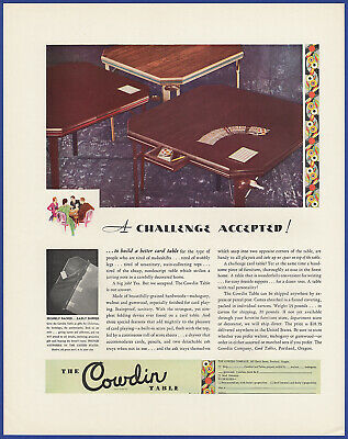Vintage 1930 THE COWDIN Table Card Game Table Furniture Ephemera Print Ad 30's