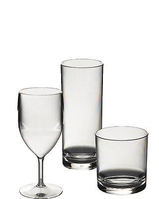 Polycarbonate Plastic Wine Glasses - Set of Wine, Whisky & Hibal Polycarbonate Plastic Unbreakable Reusable Glasses.