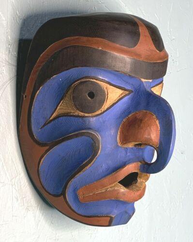 Vintage Northwest Coast Humanoid Eagle Mask Wood Sculpture 1972 Sitka Alaska