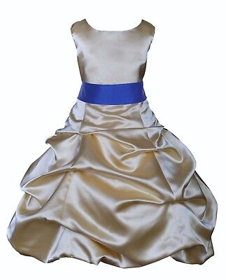 New Gold Flower Girl Dress Formal Occasion Wedding Size 2 2T 4 6 7 8 10 12 14 16 (Formal Girls Dresses 7 16)