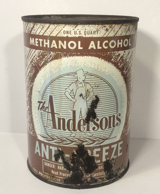 Vtg The Andersons Anti-Freeze 1 Quart Oil Can Tin Maumee Ohio Graphic Tin