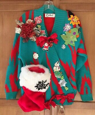 Ugly Christmas Sweater Trophy (Ugly Tacky Gaudy CHRISTMAS SWEATER Unisex sz S Office Party Prize)