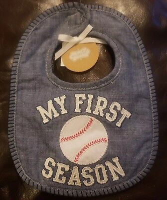 Mud Pie My 1st Season Baseball Baby Bib Blue One Size Blue Infant Baseball Bib